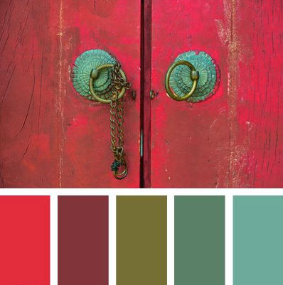 Red Wood Doors with Vintage Handles for Scheme Inspiration