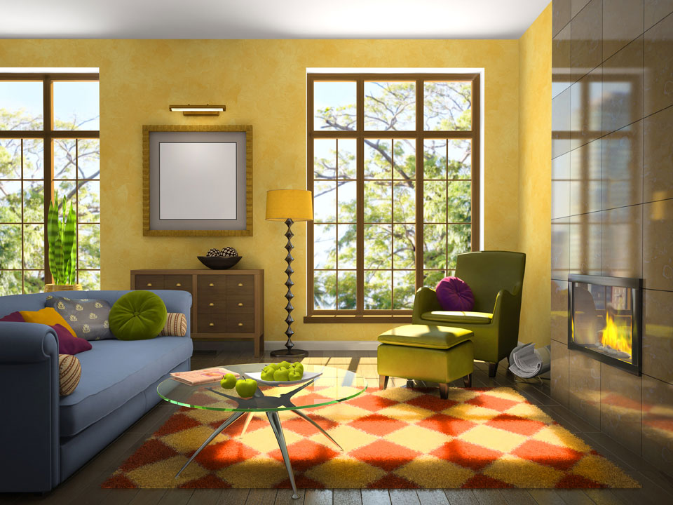 A sunny and warm yellow walled livingroom