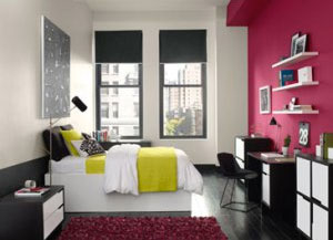 Bedroom with Bright Pink Accent Wall