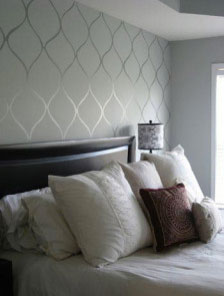 Bedroom with Patterned Accent Wall
