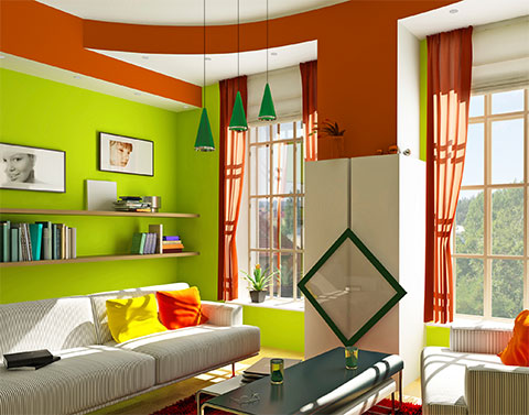 Modern Living Room with Lime Walls and Burnt Umber Accents