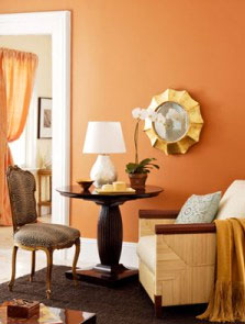 Sitting Room with Orange Sherbet Accent Wall