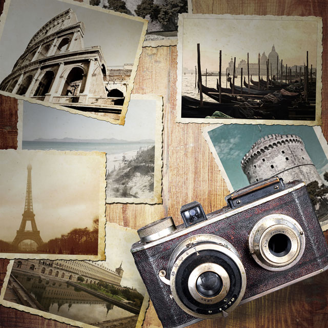 vintage travel photos and camera