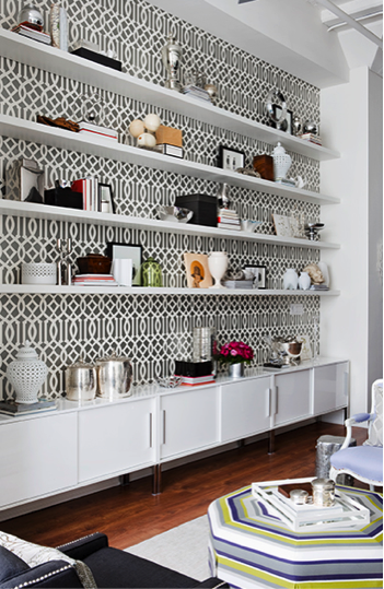 Wallpaper backed wall shelfs from simplified bee