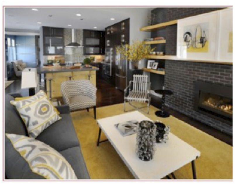 Here is an example of using a textile  the pillows  as the basis for the  color in both rooms  they all have gray  yellow  black and white in the  scheme. How Important is it that Colors Flow from Room to Room    Diamond